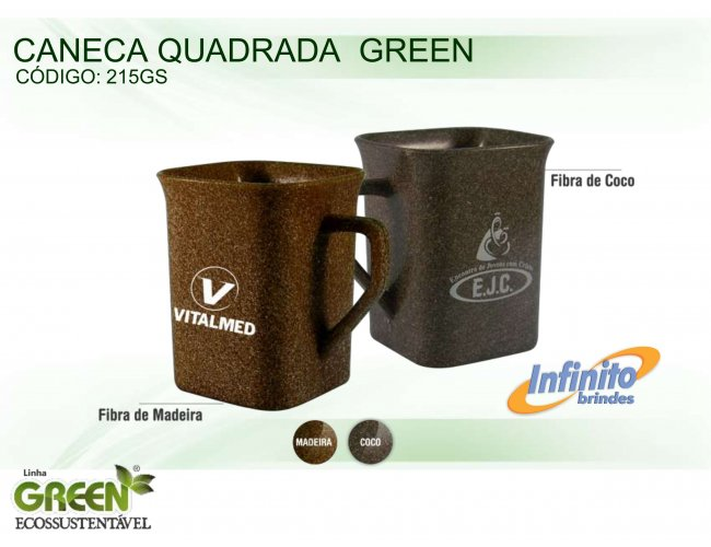 CANECA PL�STICA QUADRADA GREEN (250 ml) - INF G0215